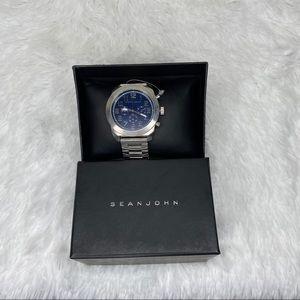 NWOT Sean John blue and silver watch